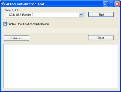 ACR100 Reader in ACOS5 Initialization Tool