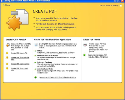 Select the appropriate source file in creating your PDF document.