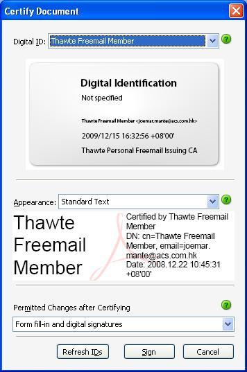 Select which digital certificate to use for digital signing