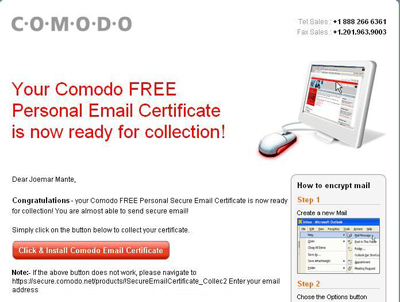 Comodo Confirmation e-mail.