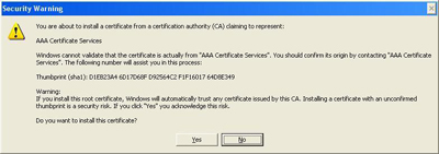 Select Yes when asked to Install a Certificate Authority Certificate.