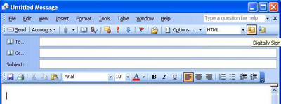 Selecting an E-mail Message to have a Digital Signature. Upper Left Side of the Message Panel