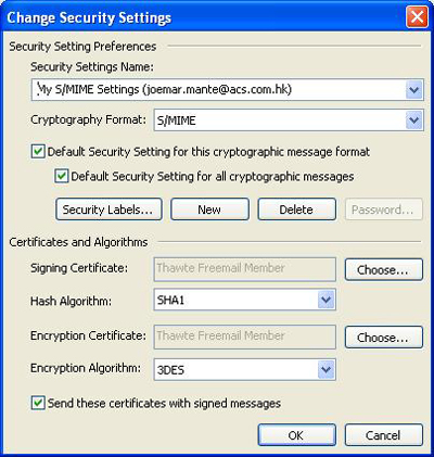 Security Settings for using Card/Token in your MS Outlook/Outlook Express E-mail client.
