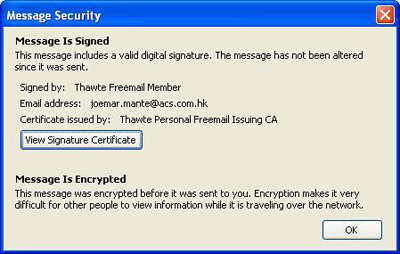 Email Message Security information.