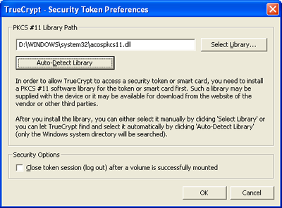 Security Token Preferences window.