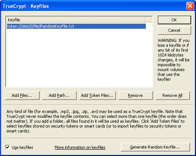 Newly Created Keyfile in the list..