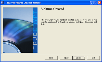 Your TrueCrypt Volume is now being formatted.