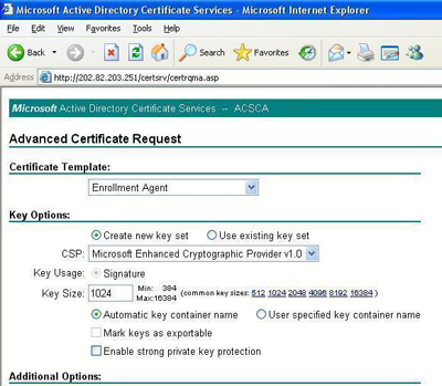 Requesting Certificate in Internet Explorer