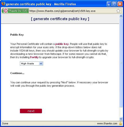 Choose the appropriate certificate key strength